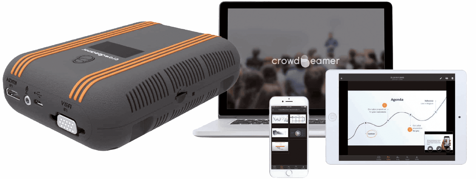 Book a demo, and learn more about the crowdbeamer device and app
