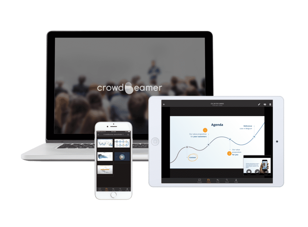 L'appli crowdbeamer app sur laptop, tablette & smartphone