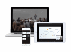 The crowdbeamer app on laptop, tablet & smartphone
