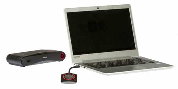 The ClickShare CS-100 base unit & USB button, a many-to-1 screen sharing system