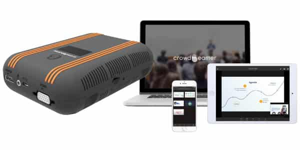The crowdbeamer device & the app for your audience, a 1-to-many screen sharing solution