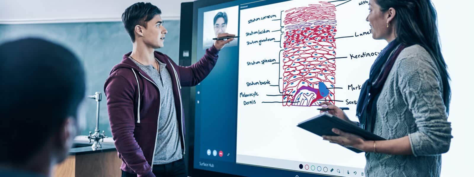 Microsoft Surface Hub's multi-touch display and built-in videoconferencing facilitate and strengthen collaboration and teamwork